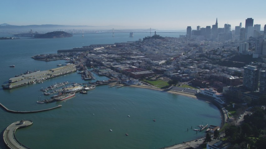 5K stock footage aerial video Flyby historic ships at Hyde Street Pier and Fisherman's Wharf, San Francisco, California Aerial Stock Footage | DCSF05_068