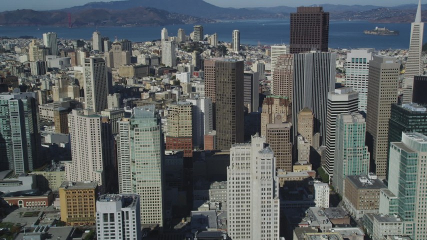 5K aerial video Flying by Financial District skyscrapers, Downtown San Francisco, California Aerial Stock Footage | DCSF05_073