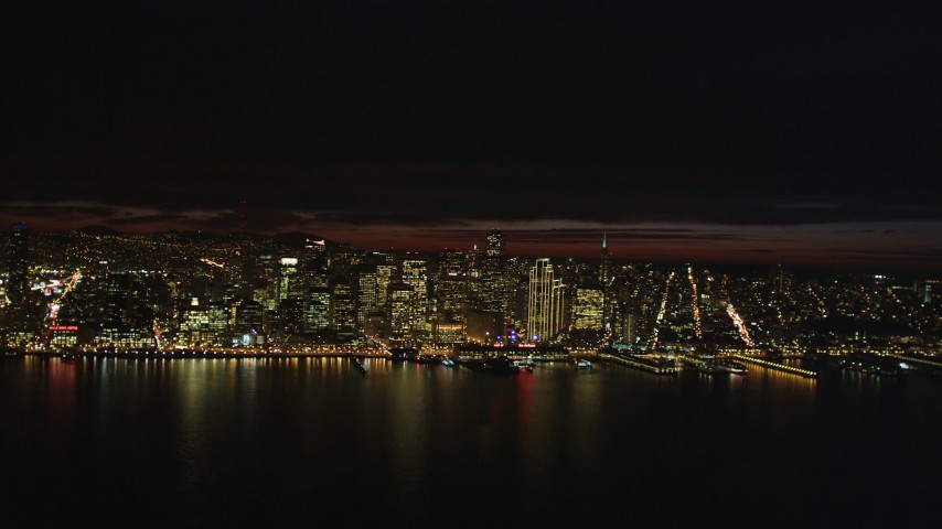 5K stock footage aerial video Approach Downtown San Francisco from San Francisco Bay, California, night Aerial Stock Footage | DCSF06_003