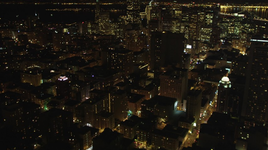 5K stock footage aerial video Tilt up to reveal high-rises and skyscrapers in Downtown San Francisco, California, night  Aerial Stock Footage | DCSF06_009