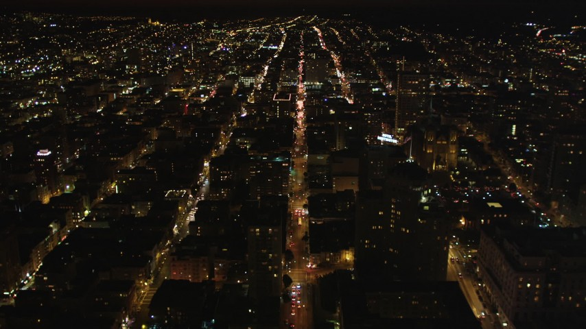 5K stock footage aerial video following California Street past Huntington Hotel, Grace Cathedral, in Nob Hill, San Francisco, California, night Aerial Stock Footage | DCSF06_017