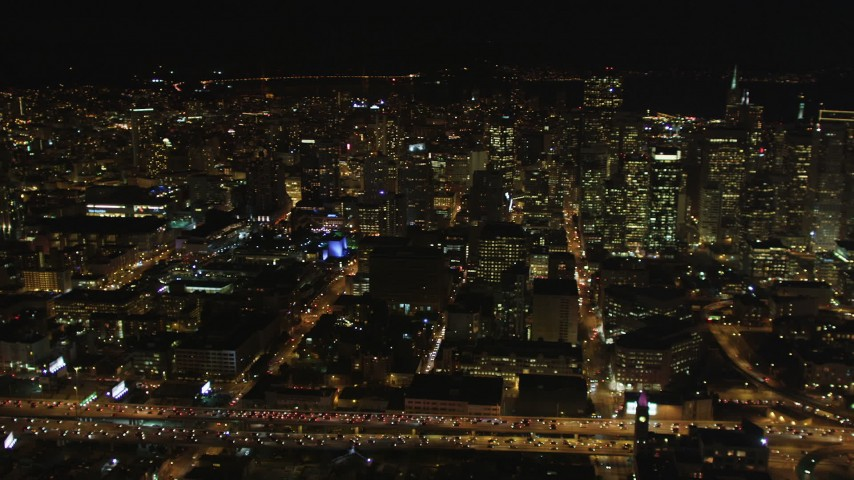 5K aerial video Pan across Downtown San Francisco cityscape, California, night Aerial Stock Footage | DCSF06_019