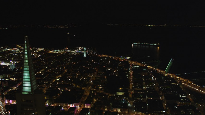 5K stock footage aerial video Flyby Transamerica Pyramid, approach Coit Tower, San Francisco, California, night Aerial Stock Footage DCSF06_023 | Axiom Images