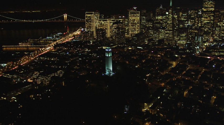 5K stock footage aerial video Flyby Coit Tower in North Beach, San Francisco, California, night Aerial Stock Footage | DCSF06_024