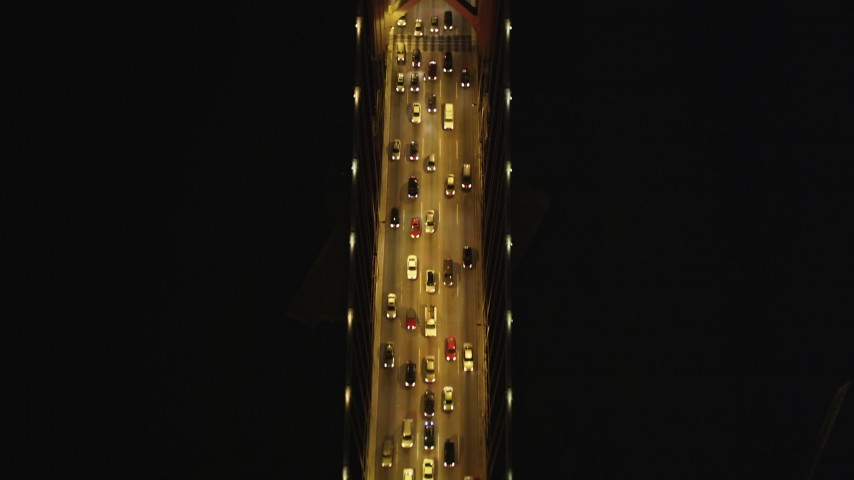 5K stock footage aerial video Bird's eye view flying over Bay Bridge, San Francisco, California, night Aerial Stock Footage | DCSF06_026