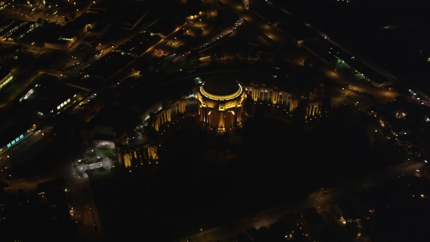 5K stock footage aerial video Bird's eye view of the Palace of Fine Arts, Marina District, San Francisco, California, night Aerial Stock Footage DCSF06_040   Axiom Images