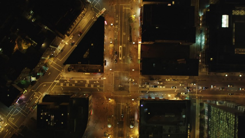 5K stock footage aerial video Bird's eye of Market Street and cross streets in Downtown San Francisco, California, night  Aerial Stock Footage | DCSF06_056