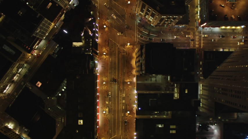 5K stock footage aerial video Bird's eye view following Market Street, Downtown San Francisco, California, night Aerial Stock Footage | DCSF06_058