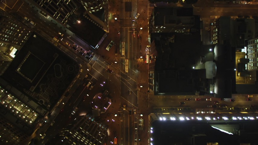5K stock footage aerial video Bird's eye view following Market Street, Downtown San Francisco, California, night Aerial Stock Footage | DCSF06_059