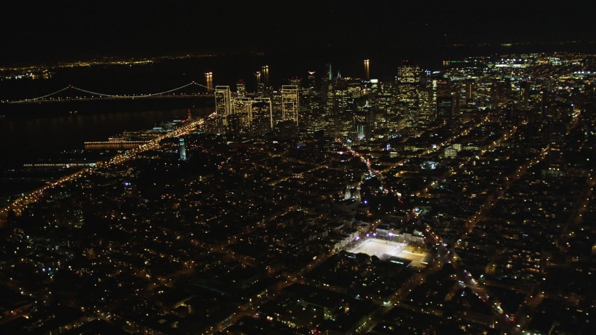 5K stock footage aerial video Fly high altitude by Coit Tower and Downtown San Francisco, California, night Aerial Stock Footage | DCSF06_064