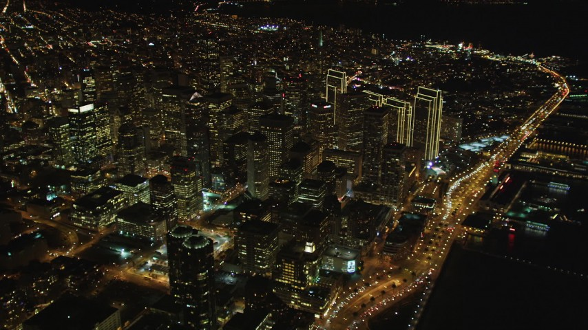 5K stock footage aerial video High altitude view of Downtown San Francisco, California, night Aerial Stock Footage | DCSF06_070