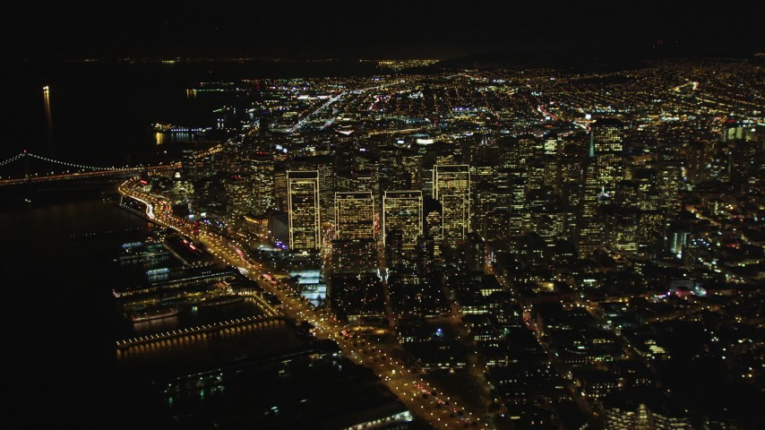 5K stock footage aerial video High altitude view of Downtown San Francisco at night seen from North Beach, California Aerial Stock Footage | DCSF06_073