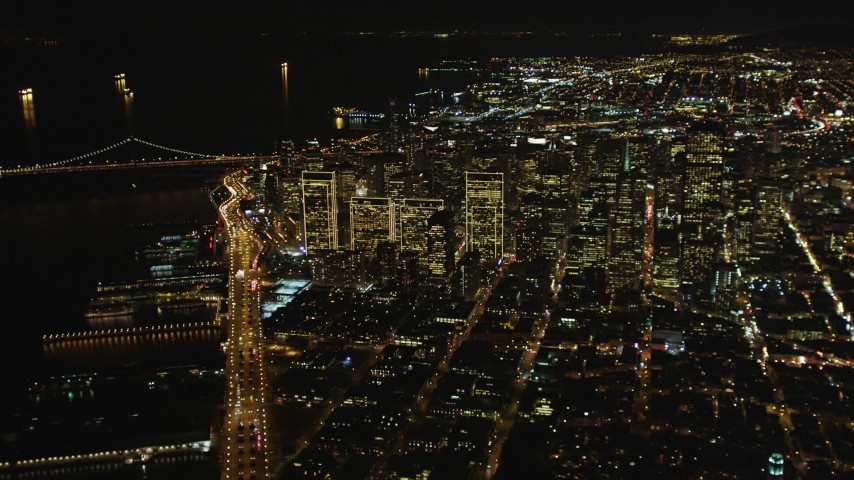 5K aerial video High altitude view of downtown from North Beach, San Francisco, California, night Aerial Stock Footage | DCSF06_074