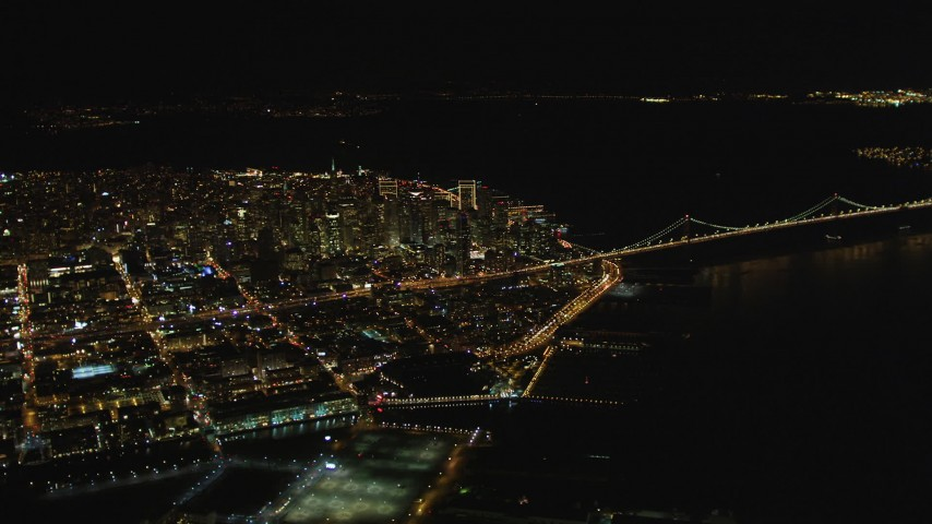 5K stock footage aerial video High altitude view ofDowntown San Francisco from South of Market, San Francisco, California, night Aerial Stock Footage | DCSF06_075
