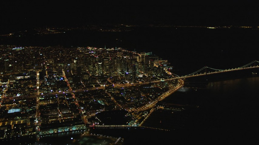 5K stock footage aerial video High altitude approach to Financial District from South of Market, Downtown San Francisco, California, night Aerial Stock Footage | DCSF06_076