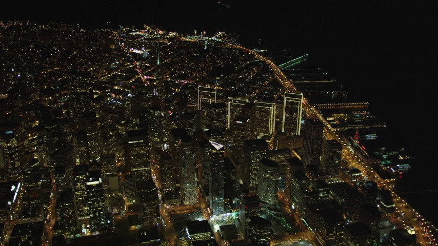 5K stock footage aerial video High altitude approach to the Financial District, Downtown San Francisco, California, night Aerial Stock Footage | DCSF06_078