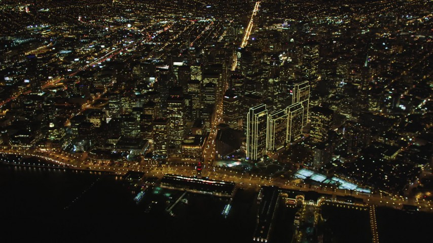 5K stock footage aerial video High altitude view of Ferry Building, Market Street, The Embarcadero, Downtown San Francisco, California, night Aerial Stock Footage | DCSF06_082