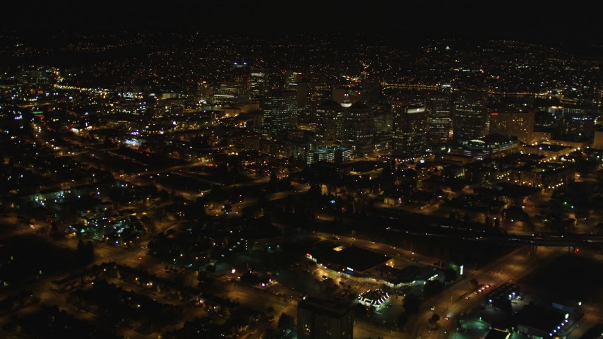 5K stock footage aerial video Fly over I-980 to approach Downtown Oakland, California, night Aerial Stock Footage   DCSF06_092