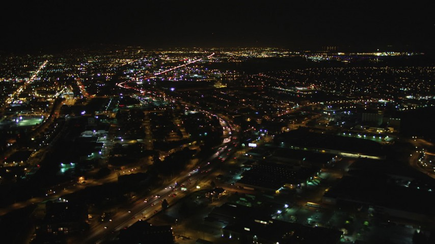 5K stock footage aerial video Approaching Interstate 880, Oakland, California, night Aerial Stock Footage   DCSF06_097