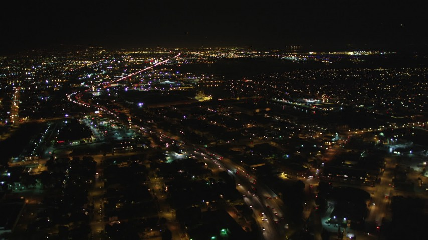 5K stock footage aerial video Follow light traffic on Interstate 880, Oakland, California, night Aerial Stock Footage | DCSF06_098