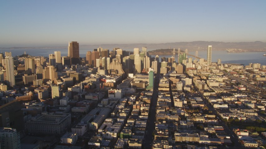 5K stock footage aerial video Downtown skyscrapers, and I-80 in South of Market, San Francisco, California, sunset Aerial Stock Footage | DCSF07_023