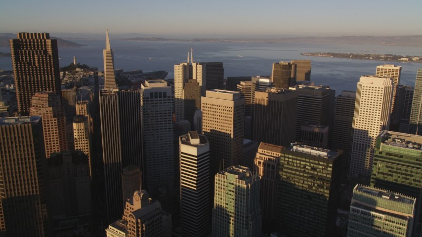 5K stock footage aerial video Approach 345 California Center and Transamerica Pyramid, Downtown San Francisco, California, sunset Aerial Stock Footage | DCSF07_026