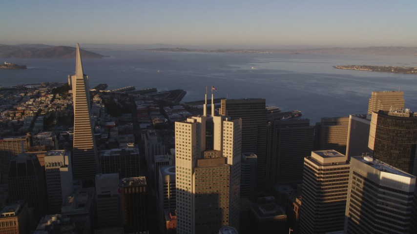 5K stock footage aerial video Fly over 345 California Center, Downtown San Francisco, California, sunset Aerial Stock Footage | DCSF07_027