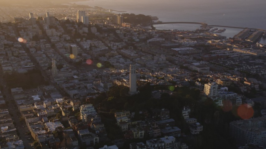 5K stock footage aerial video Orbit of Coit Tower, North Beach, San Francisco, California, sunset Aerial Stock Footage | DCSF07_028