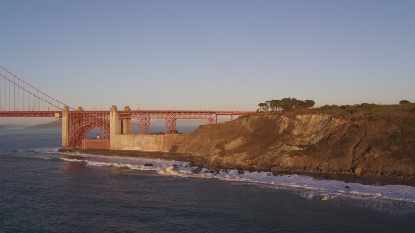 5K aerial video South side of Golden Gate Bridge, San Francisco, California, sunset Aerial Stock Footage | DCSF07_039