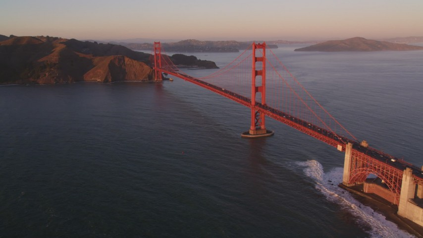 5K stock footage aerial video Flying away from the Golden Gate Bridge, San Francisco, California, sunset Aerial Stock Footage | DCSF07_045