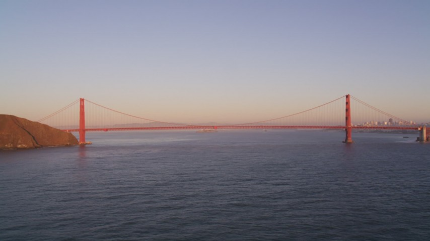 5K stock footage aerial video Flying away from Golden Gate Bridge, San Francisco, California, sunset Aerial Stock Footage | DCSF07_047