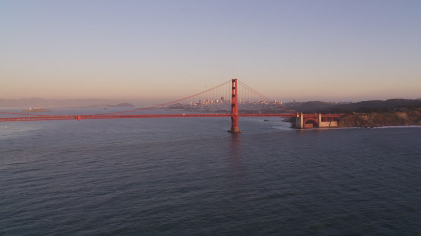 5K stock footage aerial video Flyby the Golden Gate Bridge, San Francisco, California, sunset Aerial Stock Footage | DCSF07_048