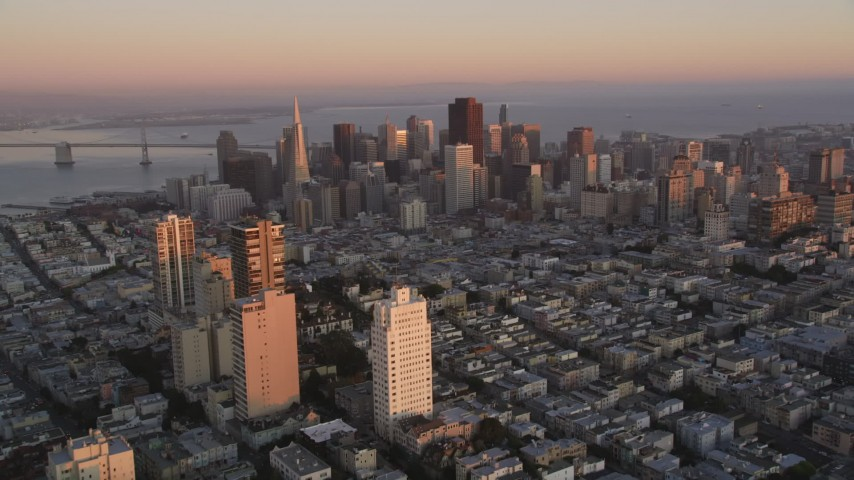 5K Aerial Video Fly over Russian Hill high-rise apartment buildings, approaching Downtown San Francisco, California, twilight Aerial Stock Footage   DCSF07_058