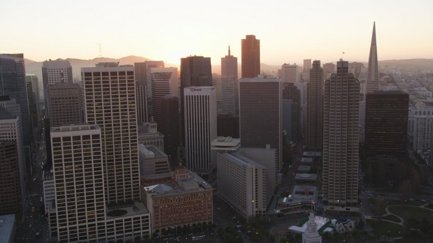 5K Aerial Video Flyby skyscrapers around Market Street, Downtown San Francisco, California, sunset Aerial Stock Footage | DCSF07_063