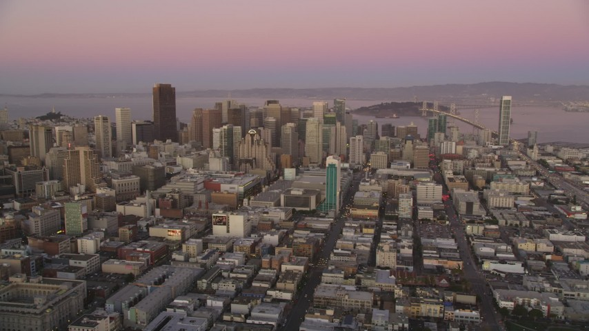 5K Aerial Video Financial District seen from the west side of the city, Downtown San Francisco, California, twilight Aerial Stock Footage | DCSF07_076