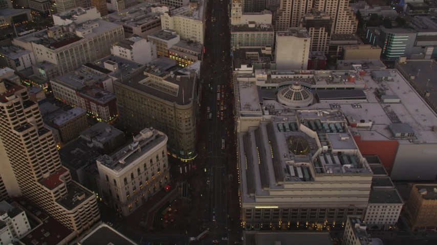 5K Aerial Video Tilt from Market Street to reveal and approach Downtown San Francisco, California, twilight Aerial Stock Footage | DCSF07_078