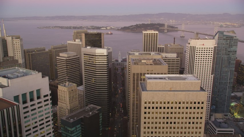 5K Aerial Video Follow Market Street to approach Ferry Building, Downtown San Francisco, California, twilight Aerial Stock Footage | DCSF07_079
