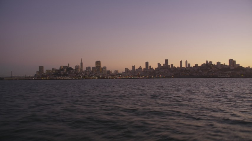 5K Aerial Video Low altitude approach to skyline of San Francisco, California, twilight Aerial Stock Footage | DCSF07_085