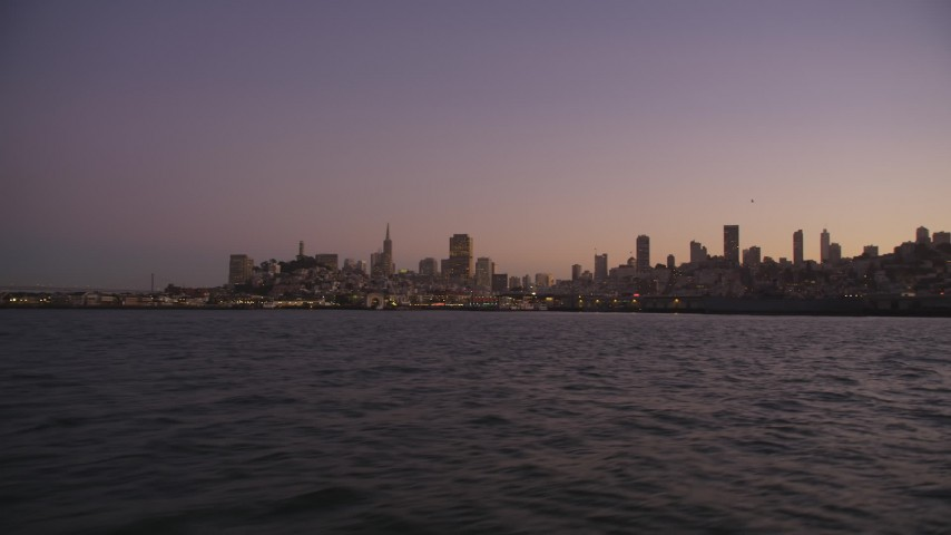 5K Aerial Video Fisherman's Wharf and downtown skyline, San Francisco, California, twilight Aerial Stock Footage | DCSF07_086