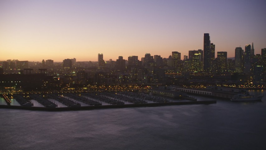 5K Aerial Video Financial District skyline and South Beach Harbor, South of Market, San Francisco, California, twilight Aerial Stock Footage | DCSF07_096