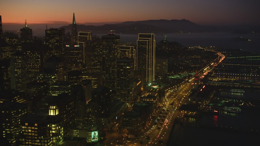 5K Aerial Video Flyby skyscrapers and high-rises in Downtown San Francisco, California, twilight Aerial Stock Footage | DCSF07_105