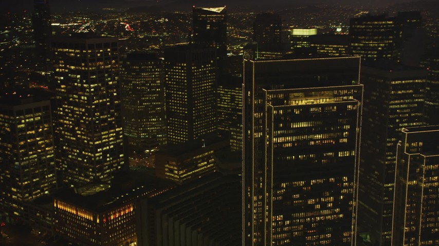 5K Aerial Video Flyby towering skyscrapers in Downtown San Francisco, California, twilight Aerial Stock Footage | DCSF07_106