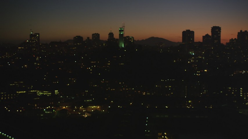 5K Aerial Video Flying by Coit Tower, North Beach, San Francisco, California, night Aerial Stock Footage | DCSF07_114