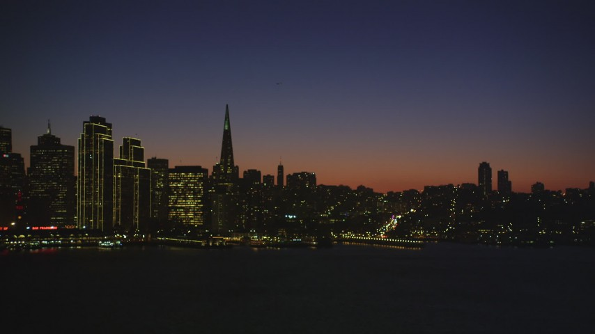 5K Aerial Video Reverse view of the skyline of Downtown San Francisco, California, night Aerial Stock Footage | DCSF07_117