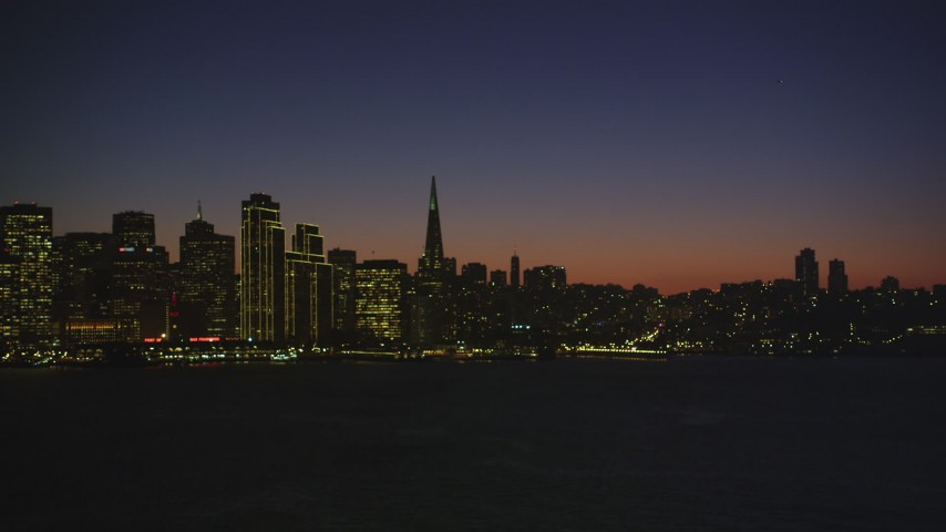 5K Aerial Video of Downtown San Francisco skyline seen from San Francisco Bay, California, night Aerial Stock Footage | DCSF07_118