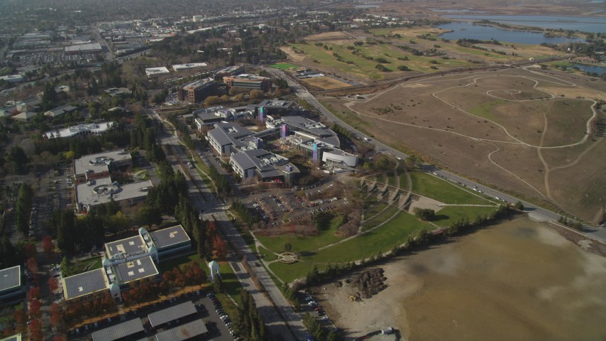 5K Aerial Video Flyby Googleplex, Mountain View, California Aerial Stock Footage | DCSF08_015