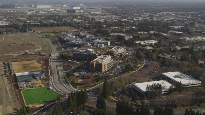 5K Aerial Video Orbit office buildings by Googleplex, Mountain View, California Aerial Stock Footage | DCSF08_017