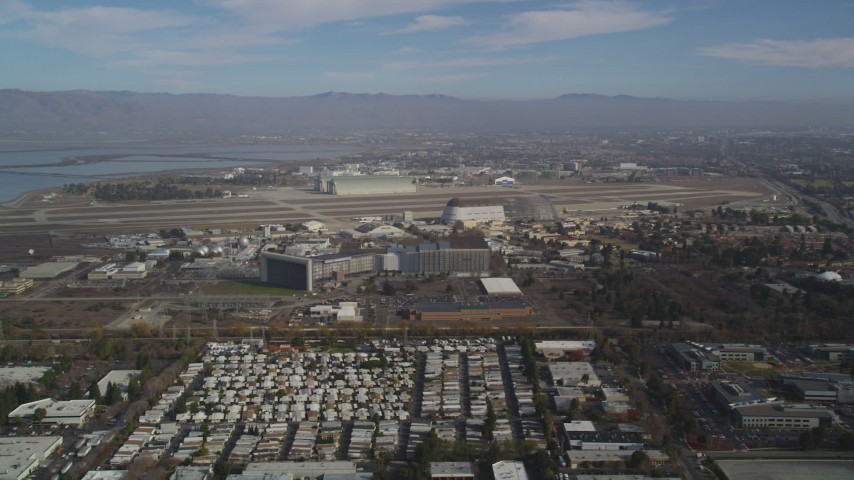 5K Aerial Video Flyby Moffett Field and the NASA Ames Research Center, Mountain View, California Aerial Stock Footage | DCSF08_020