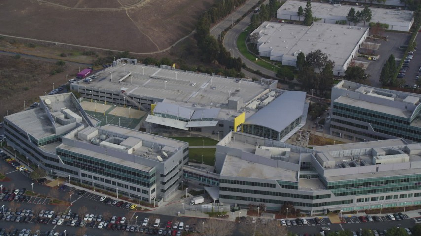 5K Aerial Video Flyby Yahoo! Campus office buildings, Sunnyvale, California Aerial Stock Footage | DCSF08_023