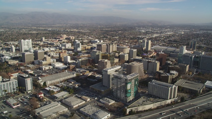 5K Aerial Video Flying over high rises and buildings, Downtown San Jose, California Aerial Stock Footage | DCSF09_002
